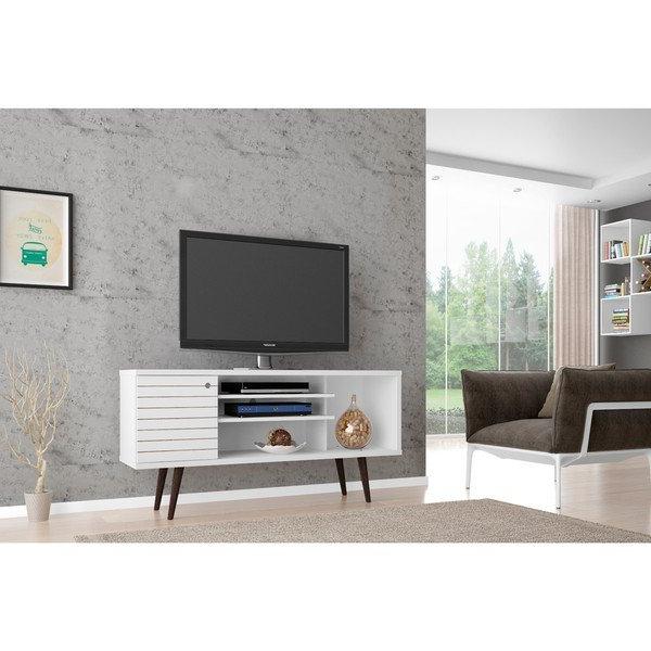 Shop Manhattan Comfort Liberty Solid Wood Leg 5 Shelf Single Door Tv In Most Recently Released Single Tv Stands (View 16 of 20)