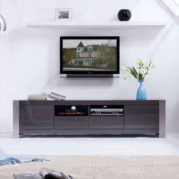 Shop 'maya' Grey High Gloss Stainless Steel Tv Stand – Free Shipping Regarding Well Liked High Gloss Tv Benches (View 16 of 20)
