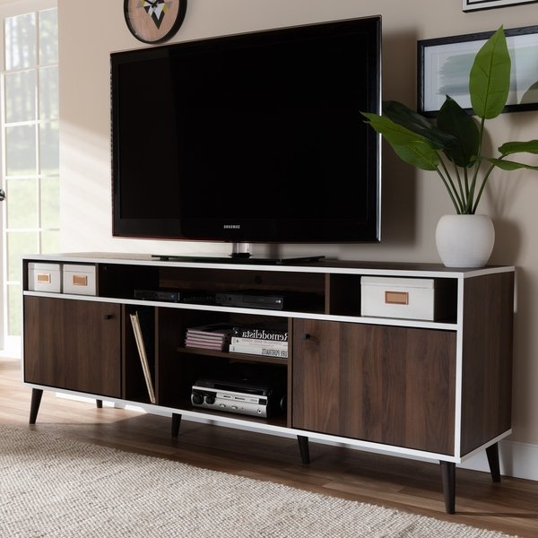 Shop Mid Century Brown And White Tv Standbaxton Studio – On Sale Inside Well Known White Tv Stands For Flat Screens (View 7 of 20)