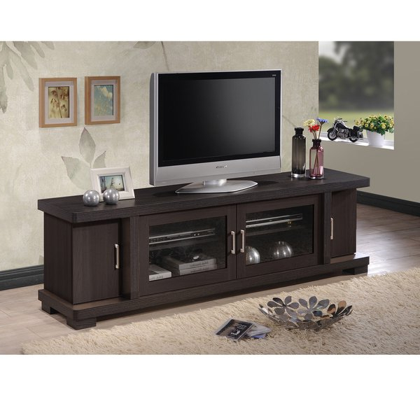Shop Porch & Den Kittery Contemporary 70 Inch Dark Brown Wood Tv With Most Popular Tv Cabinets With Glass Doors (View 12 of 20)