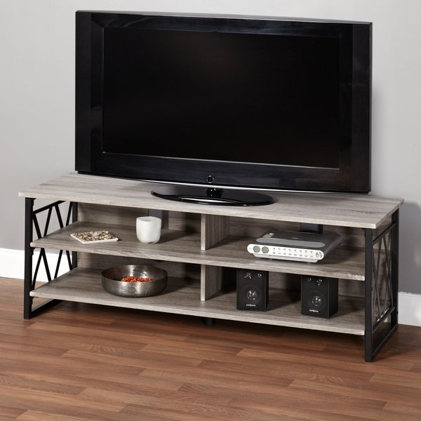Shop Simple Living Seneca Xx 60 Inch Black/ Grey Rustic Tv Stand With Favorite Rustic 60 Inch Tv Stands (View 18 of 20)