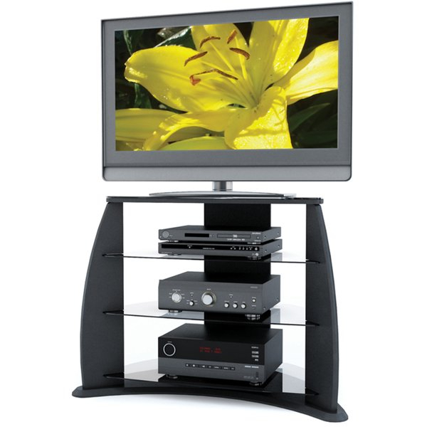 Shop Sonax Florence 34 Inch Midnight Black Tv Stand With Glass Inside Well Liked Sonax Tv Stands (View 12 of 20)