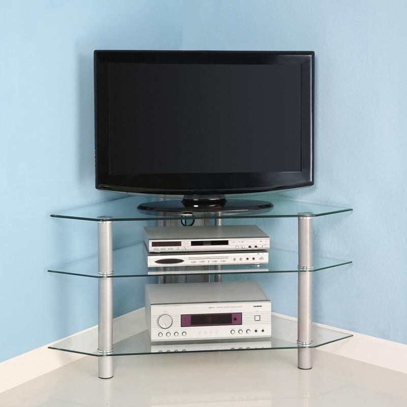 "Silver Corner Tv Stands With Preferred Walker Edison V44Y76 44"" Silver Glass Corner Tv Stand (View 15 of 20)"