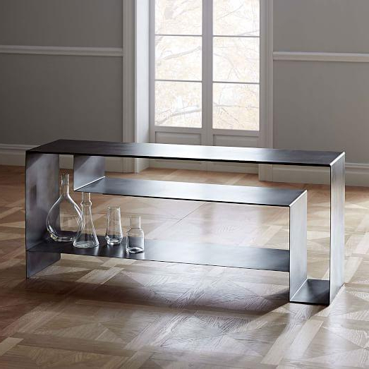 Silver Iron Open Storage Media Console Within Widely Used Gunmetal Media Console Tables (View 16 of 20)