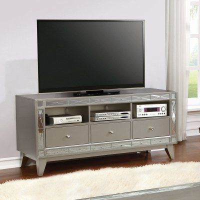 Silver Tv Stands With Famous Coaster Furniture Silver Tv Stand With 3 Drawers – (View 4 of 20)