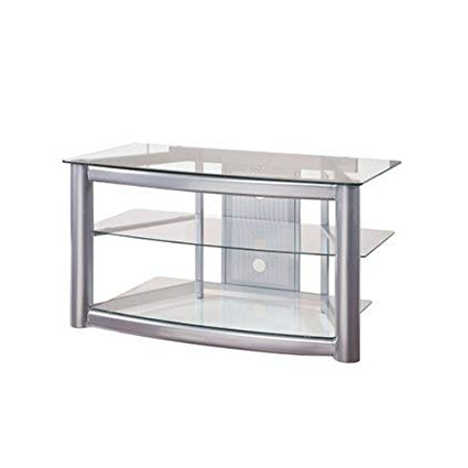 Silver Tv Stands With Regard To Current Amazon: Powell Matte Silver And Glass Tv Stand: Kitchen & Dining (View 3 of 20)