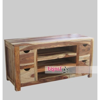 Simple Modern Wooden Sheesham Wood Tv Cabinet Tv Stands With 4 Pertaining To 2018 Sheesham Tv Stands (View 16 of 20)