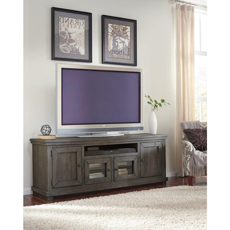Sinclair Grey 54 Inch Tv Stands In Preferred 74 Inch Distresssed Gray Tv Stand – Willow (View 1 of 20)