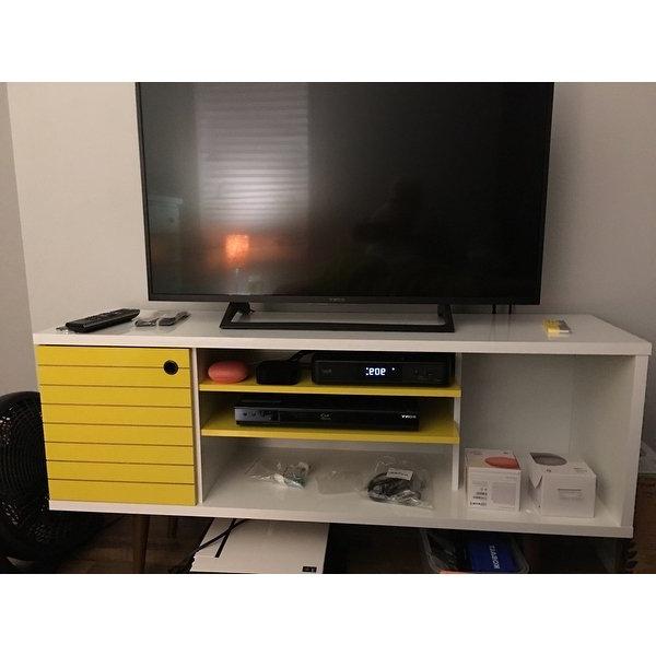 Single Shelf Tv Stands Inside Well Liked Shop Manhattan Comfort Liberty Solid Wood Leg 5 Shelf Single Door Tv (View 16 of 20)