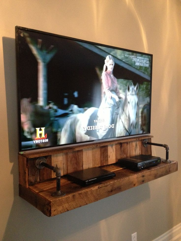 Single Shelf Tv Stands Regarding 2017 I Love This! Wood & Pipe Shelf For Electronics Under A Wall Mounted (View 16 of 20)