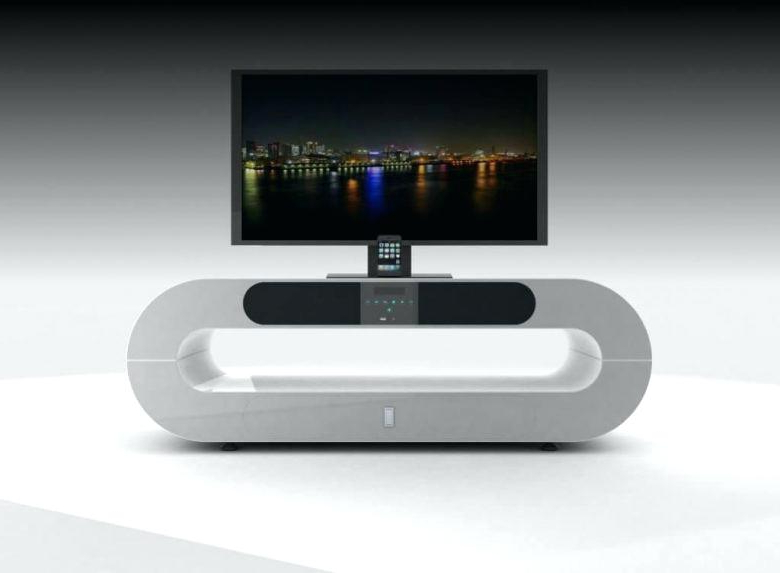 Sleek Tv Stand Piece Of Silver Modern Stands Creative Oval Design Pertaining To Trendy Sleek Tv Stands (View 5 of 20)