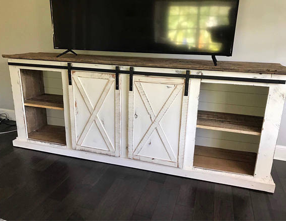 Sliding Barn Door Distressed Farmhouse Media Console, Tv Stand Pertaining To 2017 Walters Media Console Tables (View 13 of 20)