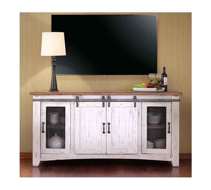Sliding Door Distressed White Stand Inch Weavers 5 Distressed White For Favorite Rustic White Tv Stands (View 13 of 20)