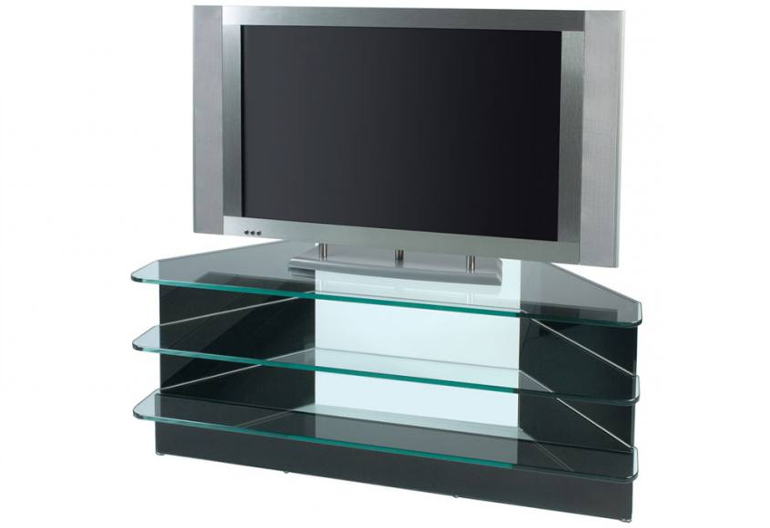 Small Corner Tv Cabinets Pertaining To Well Known Greenapple Furniture – Plasma Small Corner Tv Stand – 10Mm Clear Or (View 14 of 20)