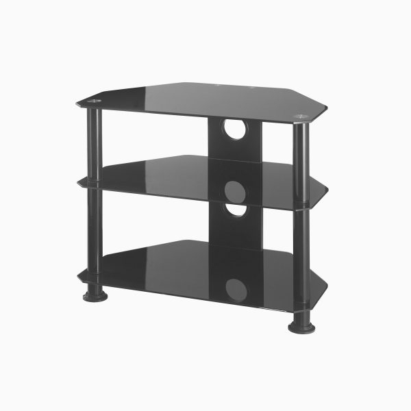 Small Corner Tv Stands Pertaining To Best And Newest Black Glass Corner Tv Stand Up To 37 Inch Tv (View 13 of 20)
