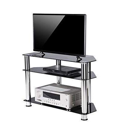 Small Corner Tv Stands Regarding Well Liked Amazon: Rfiver Tempered Glass Small Corner Tv Stand Suit For Led (View 14 of 20)
