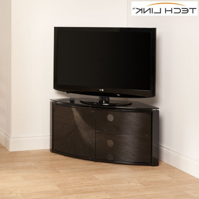 Smoked Glass Tv Stands Regarding Widely Used Techlink B6B Bench Piano Gloss Black With Smoked Glass Corner Tv (View 20 of 20)