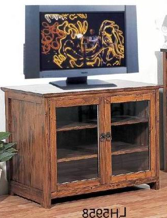 Solid Fir Wood Tv Cabinet With 2 Glass Doors And 2 Shelves In Pertaining To Preferred Wooden Tv Cabinets With Glass Doors (View 7 of 20)