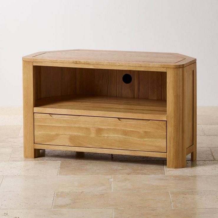 Solid Oak Corner Tv Cabinets Inside Latest Romsey Corner Tv Cabinet (View 15 of 20)