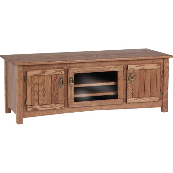 """Solid Oak Mission Style Tv Stand W/cabinet  60"""" – The Oak Furniture Shop With Regard To Newest Oak Furniture Tv Stands (View 18 of 20)"""