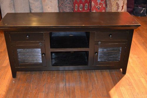 Solid Wood Black Tv Stands With Well Known Rustic Painted Distressed Reclaimed Solid Wood Black Credenza/tv (View 20 of 20)
