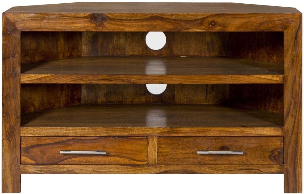 Solid Wood Corner Tv Cabinets For Current Buy Cuban Petite Sheesham Corner Tv Cabinet Online – Cfs Uk (View 6 of 20)