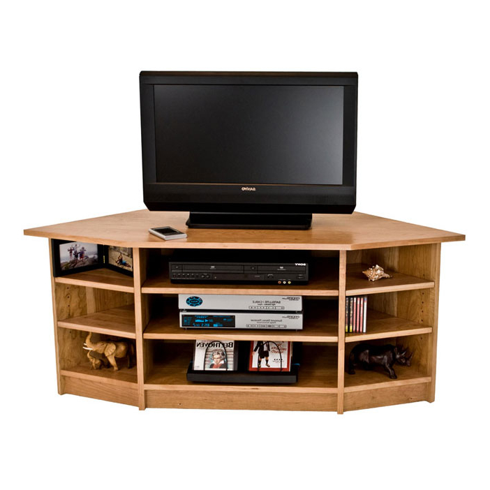 Solid Wood Corner Tv Stand In Cherry (View 9 of 20)