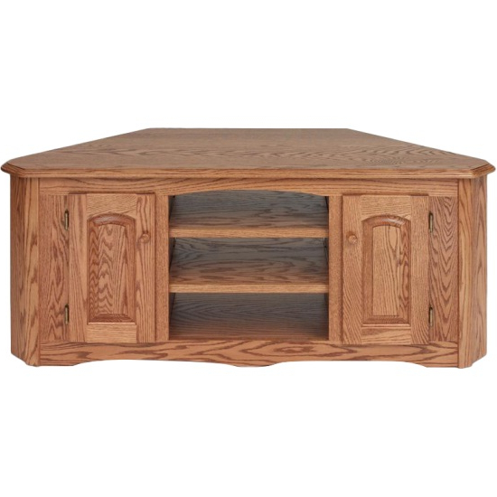 "Solid Wood Oak Country Corner Tv Stand W/cabinet – 55"" – The Oak Regarding Well Known Large Corner Tv Stands (View 18 of 20)"
