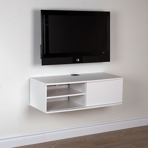 "South Shore Agora 38"" Wall Mounted Media Console – Pure White : Tv With Well Known White Wall Mounted Tv Stands (View 13 of 20)"