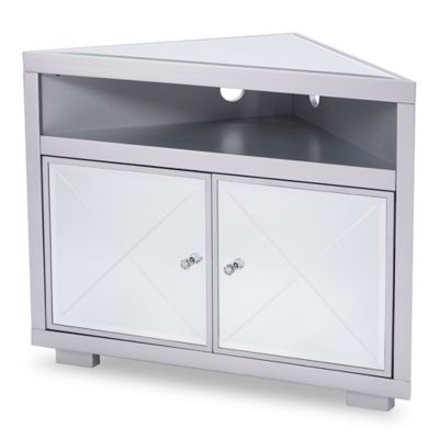 Southern Enterprises Mirage Mirrored Corner Tv Stand In Matte Silver With 2018 Silver Corner Tv Stands (View 16 of 20)