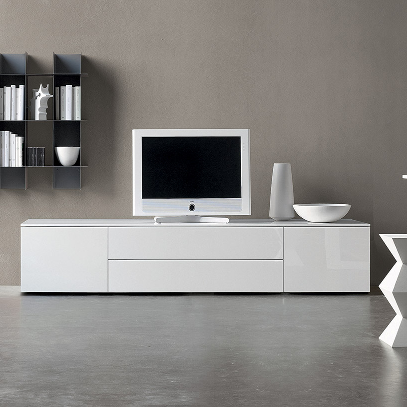Space White Gloss Tv Unit Intended For Newest Modern White Gloss Tv Stands (View 2 of 20)