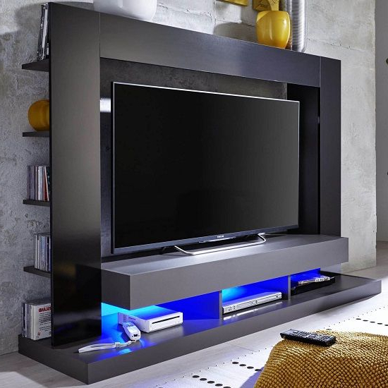 Stamford Entertainment Unit In Black Gloss Fronts With Shelving In Popular Telly Tv Stands (View 7 of 20)