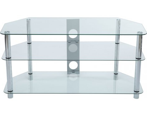 Stealth Mounts 1000Mm Clear Glass & Silver Legs Tv Stand For Tvs Up Within Most Recent Clear Glass Tv Stand (View 5 of 20)