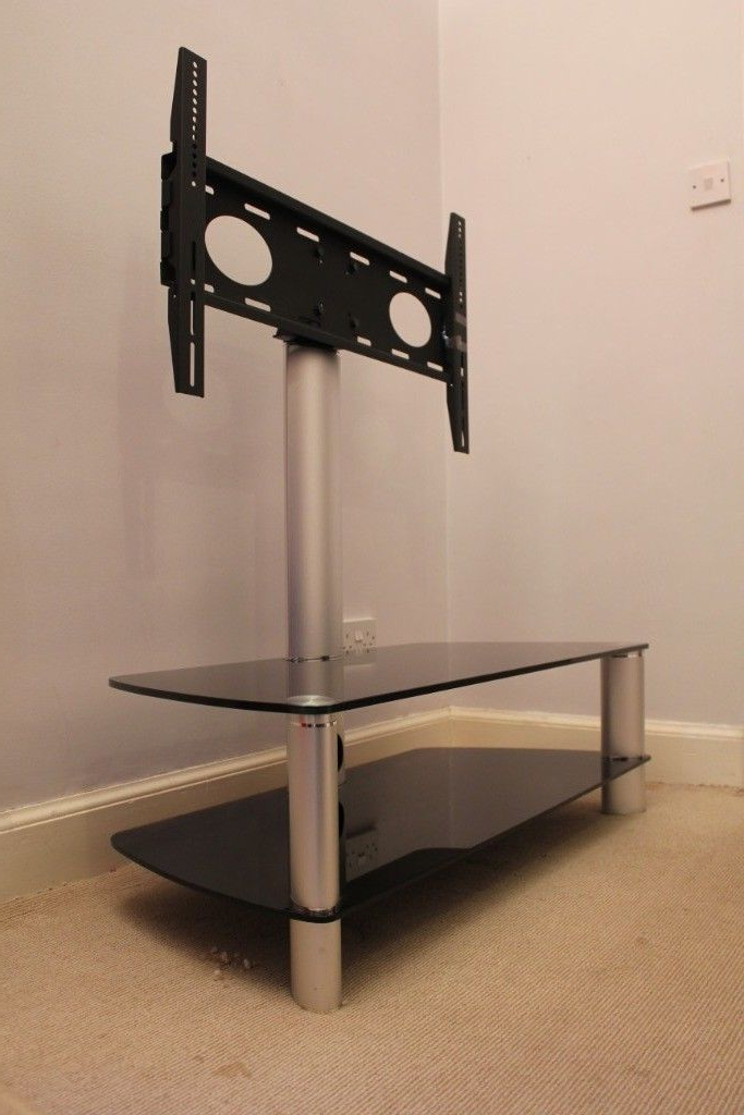 Stil Tv Stands Throughout 2017 Stil Stand 2053chbl Glass Tv Stand With Swivel (View 10 of 20)