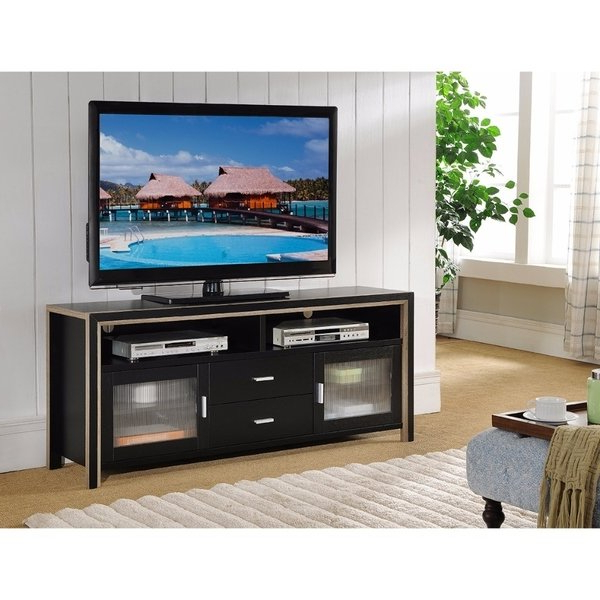 Stylish Tv Cabinets With Most Up To Date Shop Stylish Two Tone Tv Stand Frosted Cabinets, Black And Brown (View 17 of 20)