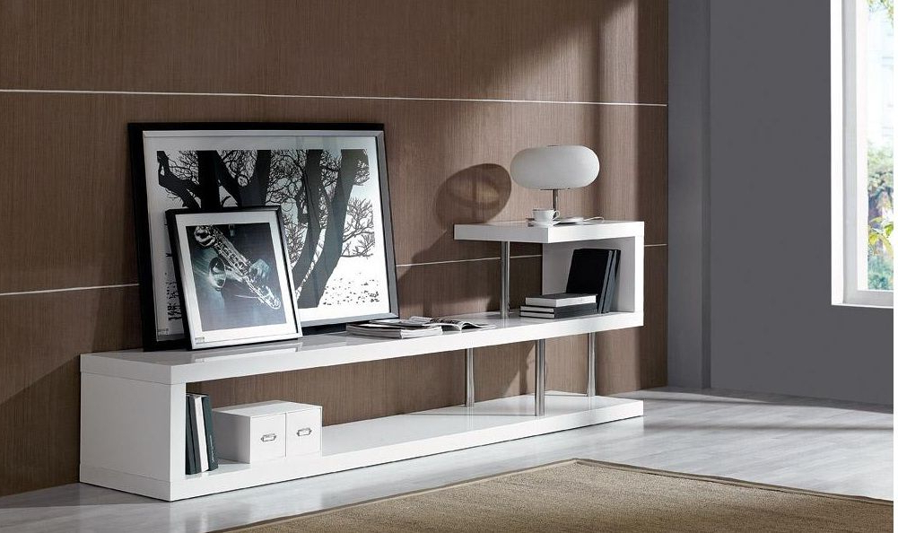 Stylish Tv Stands Inside Latest Contemporary White Lacquer Tv Stand Dayton Ohio Vwin (View 12 of 20)