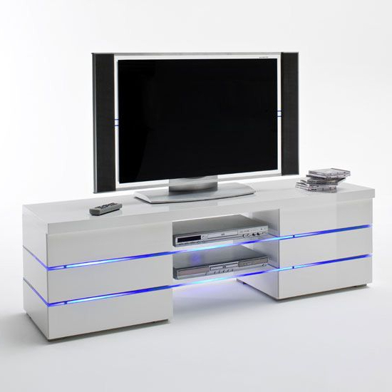 Svenja Media Tv Stand In High Gloss White With Led Multi Lights (View 7 of 20)