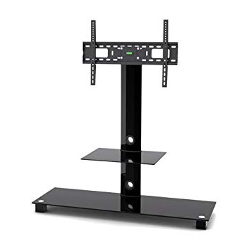Swivel Black Glass Tv Stands Throughout 2017 G Vo Black Glass Metal Tv Stand With 2 Black Tempered Glass Shelves And  Swivel Bracket For 32 Inch To 55 Inch Led Lcd Plasma Tvs Up To 40Kg Weight (View 10 of 20)