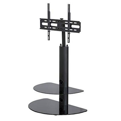 Swivel Black Glass Tv Stands With Regard To Widely Used Amazon: Mmt Black Glass Floor Tv Stands Flat Screens Swivel (View 13 of 20)