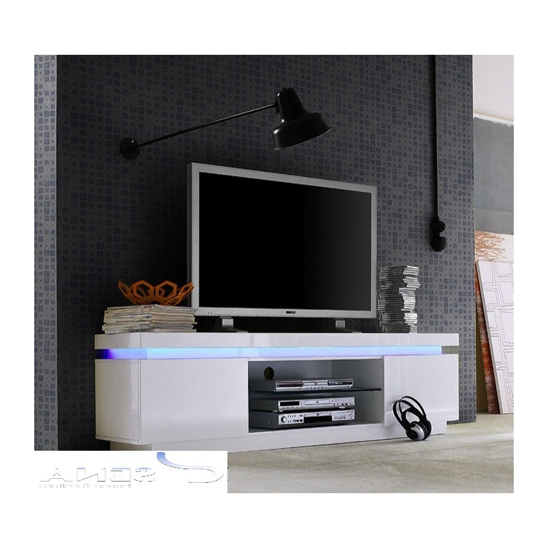 Tall Black Tv Cabinets In Well Known Avanti Ii Gloss Tv Stand With Rgb Lights – Tv Stands (533) – Sena (View 18 of 20)