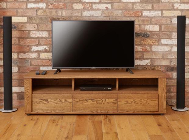 Tampa Oak Large Widescreen Tv Cabinet Inside Fashionable Widescreen Tv Cabinets (View 17 of 20)