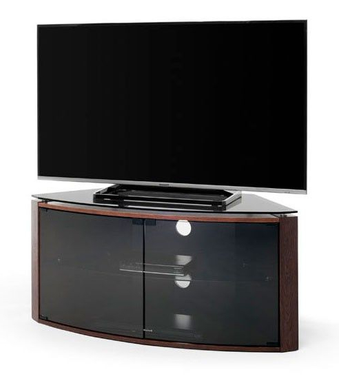 Techlink Bench Dark Oak With Smoked Glass Corner Tv Cabinet (B6Do Intended For Most Up To Date Techlink Corner Tv Stands (View 12 of 20)