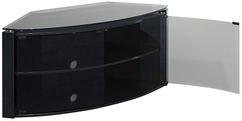 Techlink Bench Piano Black Corner Tv Stand With Glass Doors Regarding Widely Used Black Tv Stand With Glass Doors (View 6 of 20)