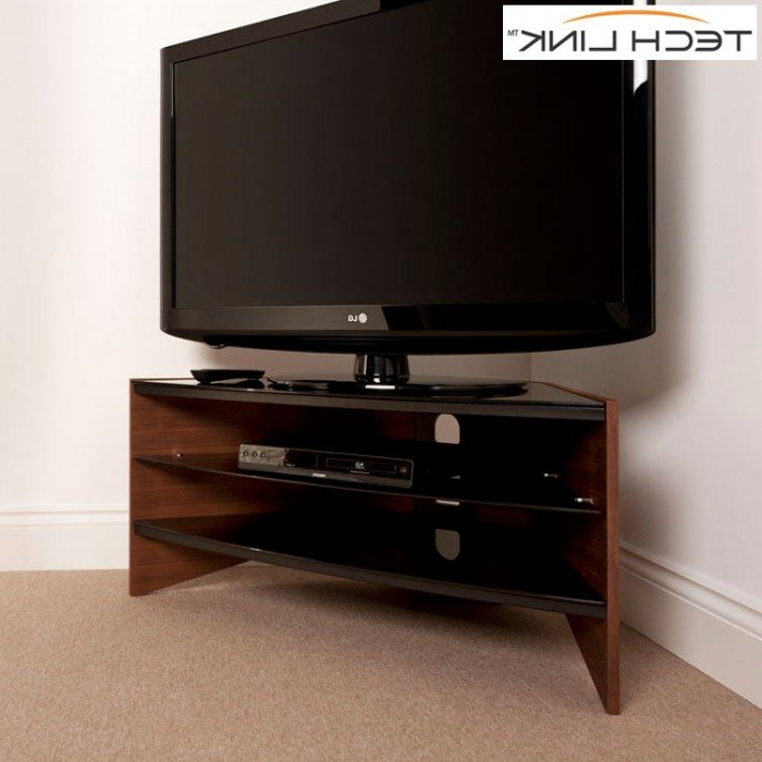Techlink Corner Tv Stands Inside Trendy Techlink Rv100W Riva Corner Tv Stand In Walnut And Black Glass (406101) (View 14 of 20)