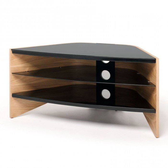 Techlink Corner Tv Stands With Regard To 2018 Techlink Rv100Lo Riva Corner Tv Stand In Light Oak And Black Glass (View 16 of 20)