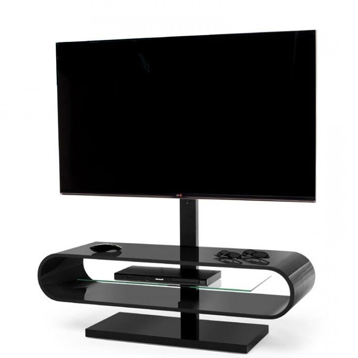Techlink Ovid Ov120Tvb Gloss Black Cantilever Tv Stand (406037) In Well Known Techlink Tv Stands Sale (View 13 of 20)