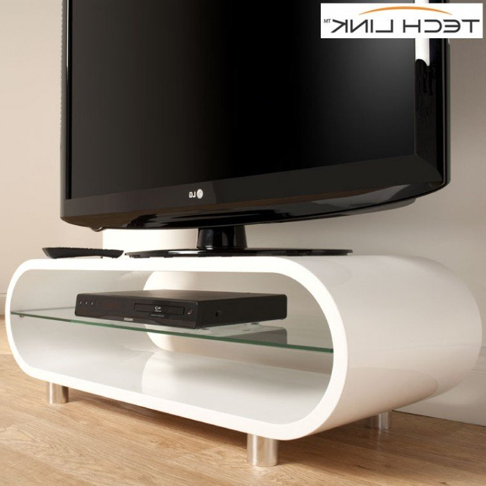 Techlink Ovid Ov95W Gloss White Tv Stand (406011) With Regard To Preferred Cheap White Tv Stands (Gallery 15 of 20)