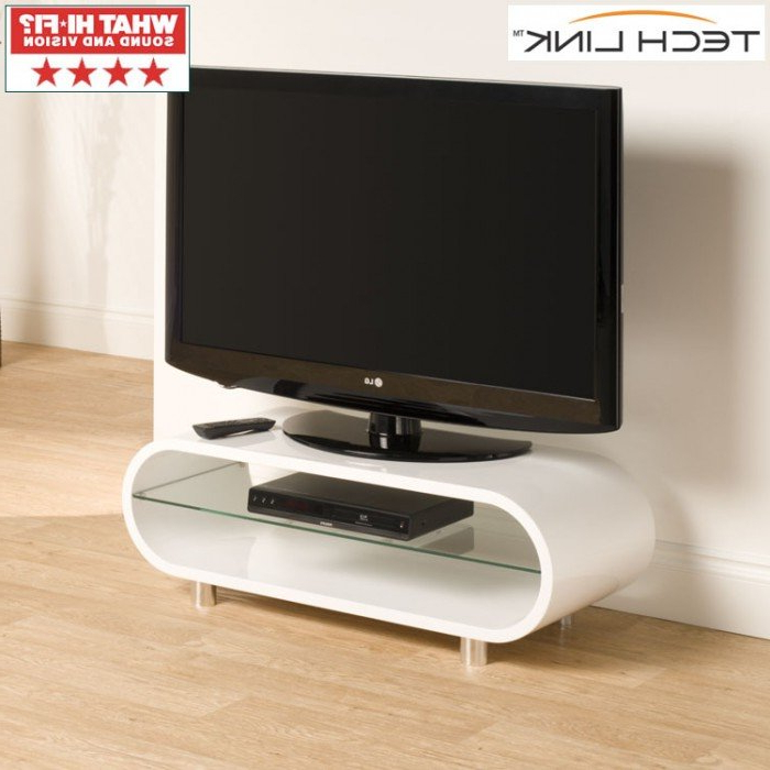 Techlink Ovid Ov95W Gloss White Tv Stand (406011) With Regard To Trendy Ovid White Tv Stand (Gallery 1 of 20)