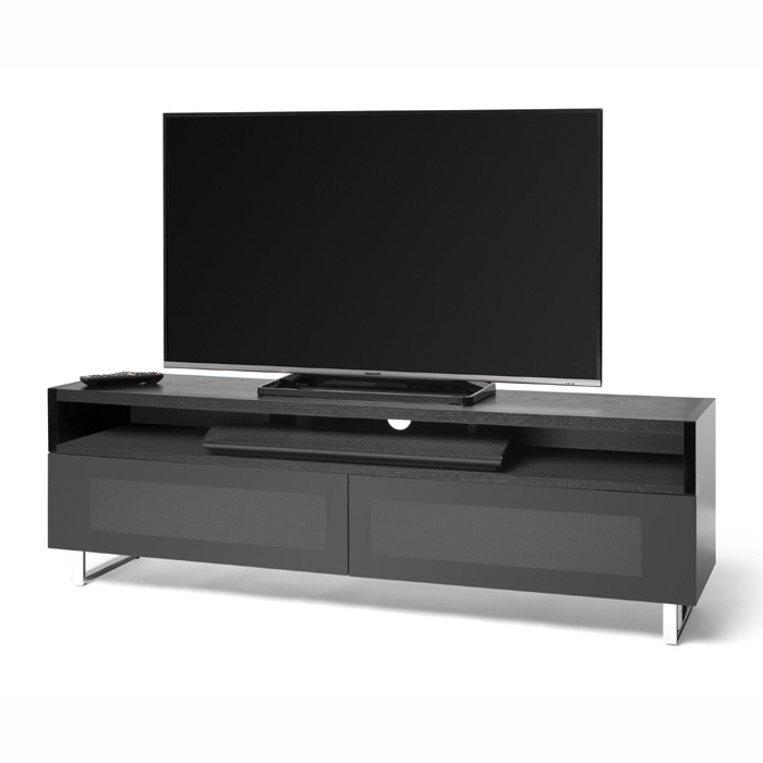Techlink Panorama Pm160+ Black Oak And Piano Gloss Black Tv Cabinet In Favorite Techlink Tv Stands Sale (View 8 of 20)