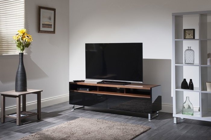 Techlink Panorama Pm160+ Piano Gloss Black And Walnut Large Tv Throughout Well Liked Techlink Panorama Walnut Tv Stands (View 10 of 20)